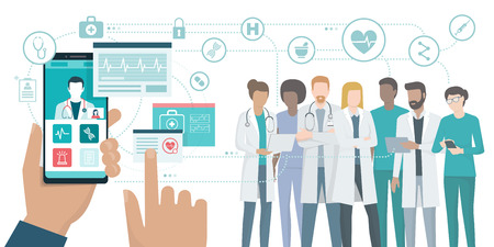 User video calling a doctor using and healthcare app on his smartphone and professional medical team connected: online medical consultation concept. Stock Illustratie