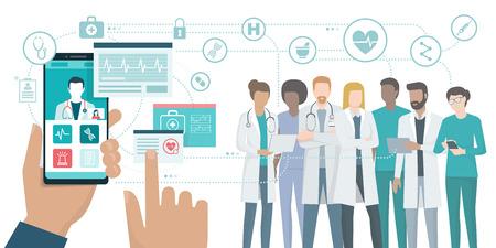 Video de usuario llamando a un médico usando una aplicación de atención médica en su teléfono inteligente y equipo médico profesional conectado: concepto de consulta médica en línea.