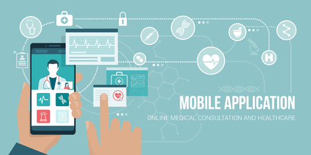 Healthcare and medical consultation app on a smartphone, the user is video calling a doctor and sharing medical records.