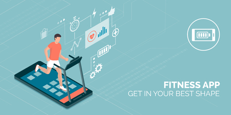 Man running on a smartphone treadmill and exercising: fitness app and sports concept Illustration