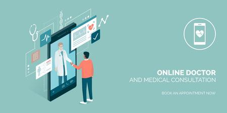 Paciente que se encuentra con un médico profesional en línea en un teléfono inteligente y estrechándole la mano, concepto de consulta médica en línea