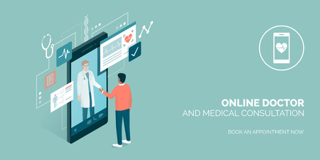Patient meeting a professional doctor online on a smartphone and shaking hands, online medical consultation concept