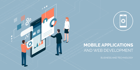 Developers building mobile apps and working together on a user interface, communication and technology concept Illustration