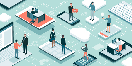 Business people and freelancers working online, they are connecting through their devices, meeting and sharing their skills