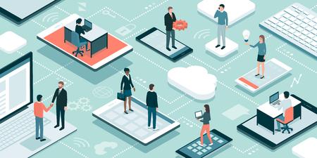 Geschäftsleute und Freiberufler, die online arbeiten, verbinden sich über ihre Geräte, treffen sich und teilen ihre Fähigkeiten