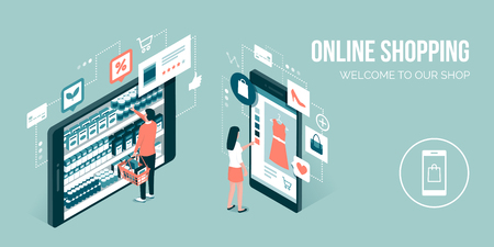 Users doing online shopping and buying grocery items using a mobile app: technology and retail concept