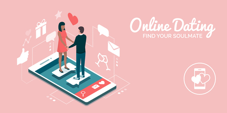 Couple meeting online on a dating website app, they are a perfect match: social media and relationships concept