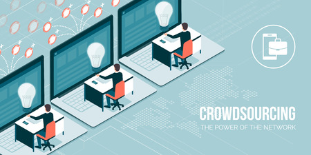 Business people and freelancers working online and receiving payments: crowdsourcing and telework concept