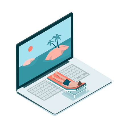Man relaxing on a deckchair and tropical islands on the computer screen, virtual vacation concept Vector illustration. Stock Illustratie