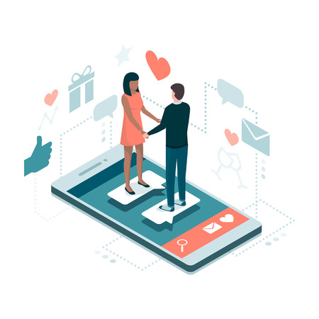 Couple meeting online on a dating website app, they are a perfect match: social media and relationships concept Vector illustration.