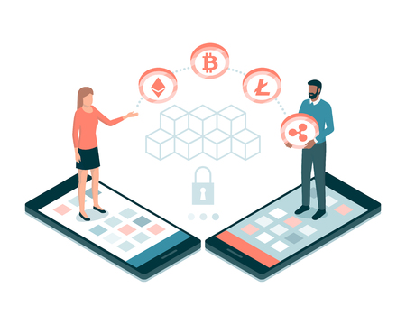 Users making payments with cryptocurrencies and blockchains online, finance and technology concept Illustration