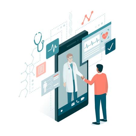 Patiënt die een professionele arts online op een smartphone ontmoeten en handen, online medisch overlegconcept schudden