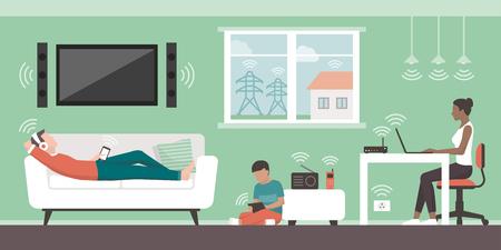Elektromagnetische Felder im Haus und in den Quellen: in ihrem Haus lebende Personen und von Geräten und drahtlosen Geräten ausgestrahlte elektromagnetische Felder. Vektorgrafik