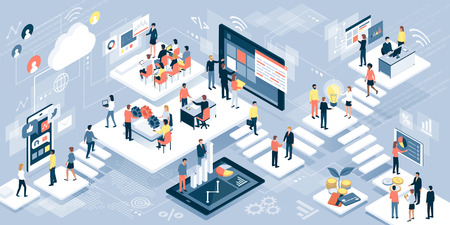 Isometric virtual office with business people working together and mobile devices: business management, online communication and finance concept Vectores