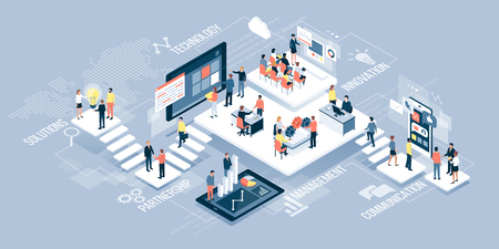 Isometric virtual office with business people working together and mobile devices: business management, online communication and finance concept Ilustração