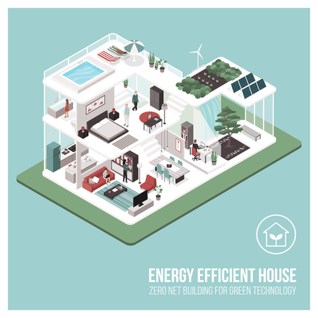 Contemporary energy efficient isometric Eco house cross section and room interiors with people: zero net building concept.