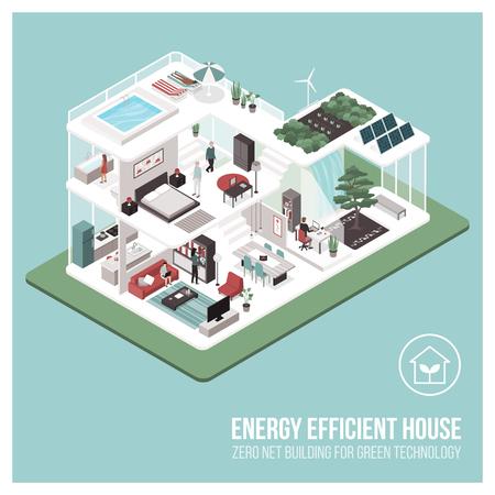 Eigentijdse energiezuinige isometrische Eco-huisdoorsnede en kamerinterieurs met mensen: nul netto-bouwconcept.