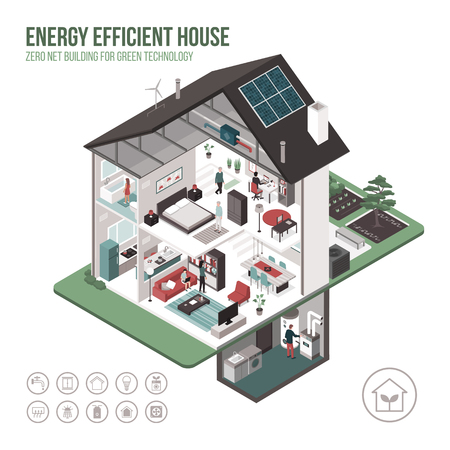 Contemporary energy efficient isometric Eco house cross section and room interiors on white background with icons and people.