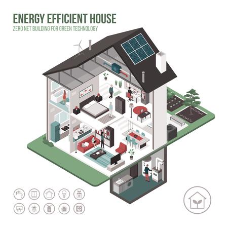 Zeitgenössischer energieeffizienter isometrischer Öko-Hausquerschnitt und Rauminnenräume auf weißem Hintergrund mit Ikonen und Personen.