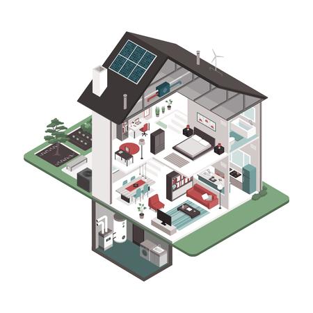 Sezione trasversale della casa isometrica contemporanea ad alta efficienza energetica e interni delle stanze su sfondo bianco, immobiliare e concetto di edifici Eco