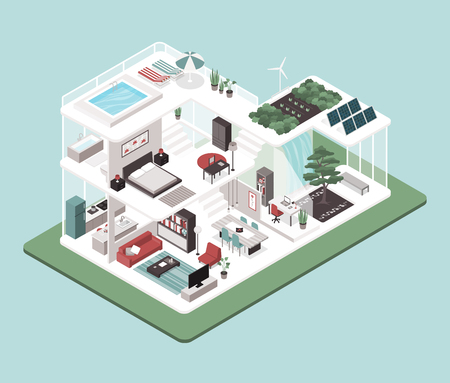 Contemporary energy efficient isometric Eco house cross section, room interiors, solar panels and zen garden. Archivio Fotografico - 101016221