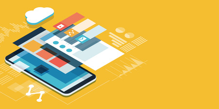 App development and web design: layered user interfaces and screens on a touch screen smartphone Illustration