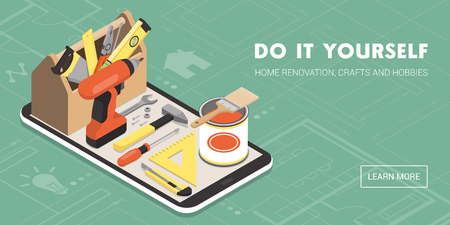 Do it yourself and home renovation app: toolbox and tools on a smartphone with icons Illustration