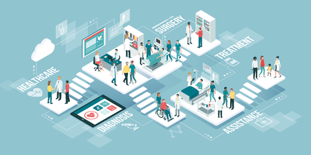 Clinica medica virtuale isometrica con stanze, pazienti e medici: concetto di medicina, sanità e tecnologia