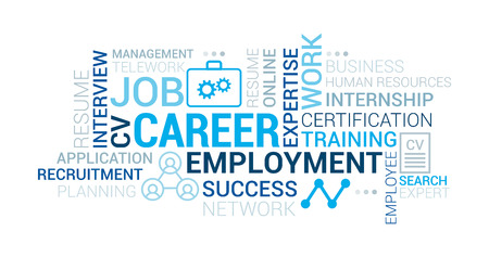 Job, employment and career tag cloud with words, icons and concepts Illustration