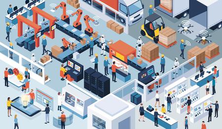 Industria intelligente contemporanea innovativa: design del prodotto, linea di produzione automatizzata, consegna e distribuzione con persone, robot e macchinari, concetto di industria 4.0
