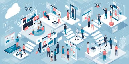 Tecnología y estilo de vida innovadores: personas que utilizan interfaces de pantalla táctil, realidad virtual y robots