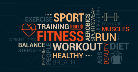 Fitness, sport and wellness tag cloud with icons and concepts Illustration