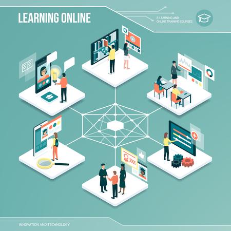 Digitale kern: online leren, universiteit en sollicitatie isometrische infographic met mensen Vector Illustratie