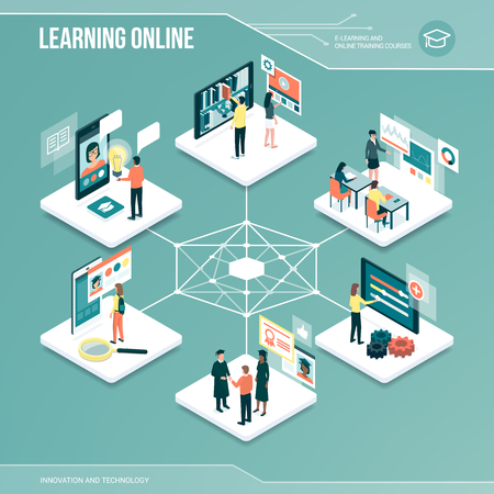 Digital core: online learning, university and job application isometric infographic with people