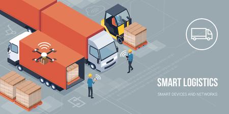 Trabajadores que cargan productos en los camiones y realizan un seguimiento de la entrega con una tableta: concepto inteligente de logística y transporte Ilustración de vector