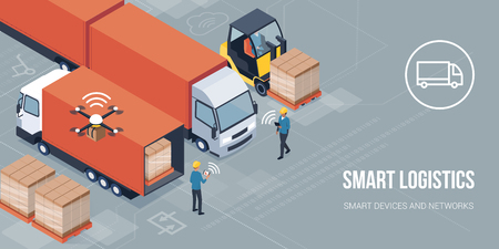 Workers loading products on the trucks and tracking delivery with a tablet: smart logistics and transportation concept