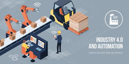Ingenieros que trabajan en una fábrica y supervisan robots mediante interfaces HMI: industria 4.0 y concepto de automatización