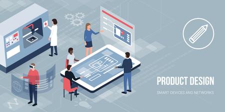 Ingenieros y diseñadores que trabajan en un nuevo producto, acceden a la realidad virtual e imprimen con una impresora 3D: diseño de productos innovadores y creación de prototipos. Ilustración de vector
