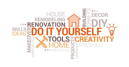 Do it yourself and home renovation tag cloud with icons and concepts Illustration