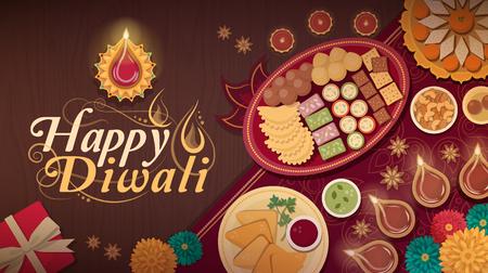 Celebración de Diwali en casa con comida tradicional y lámparas.