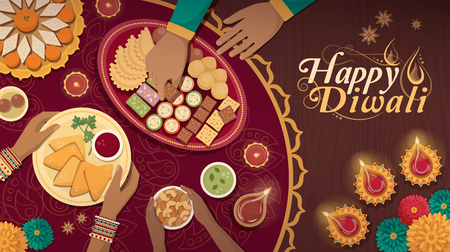 Family celebrating Diwali at home with lamps and traditional food, top view Illustration