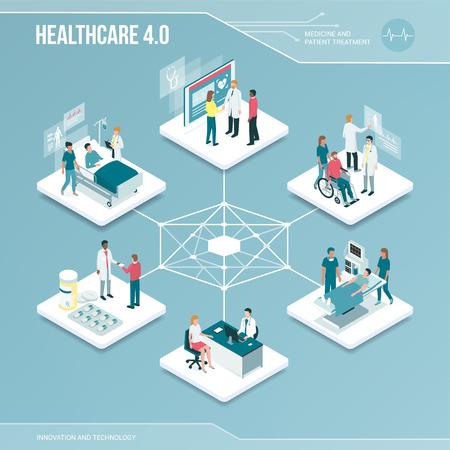 Noyau numérique: infographie isométrique des soins de santé et des services médicaux en ligne avec des personnes