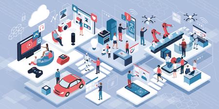 Blockchain, Internet de las cosas y estilo de vida: personas que utilizan dispositivos conectados e interfaces de pantalla táctil, robots e industria inteligente