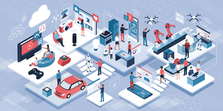Blockchain, internet of things and lifestyle: people using connected devices and touch screen interfaces, robots and smart industry Illustration