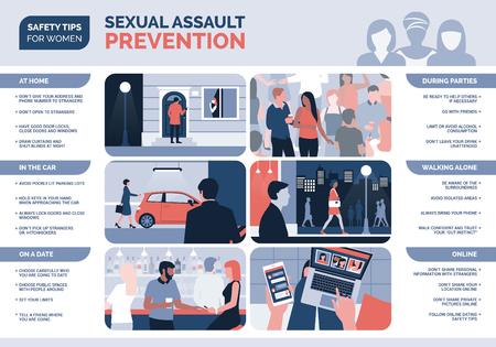 Prevención de acoso y agresión sexual para mujeres y consejos de seguridad, infografía vectorial Ilustración de vector