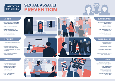 Sexual assault and harassment prevention for women and safety tips, vector infographic Çizim