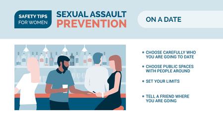 Tipps zur Vorbeugung von sexuellen Übergriffen und zur Selbstverteidigung für Frauen: So gehen Sie sicher bei einem Date Vektorgrafik