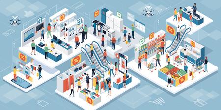 Gente feliz comprando juntos en el supermercado y comprando productos: realidad aumentada y concepto de liquidación de ventas Ilustración de vector