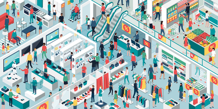 Gente feliz comprando juntos en el centro comercial y liquidación: electrónica, ropa, muebles para el hogar y tienda de comestibles