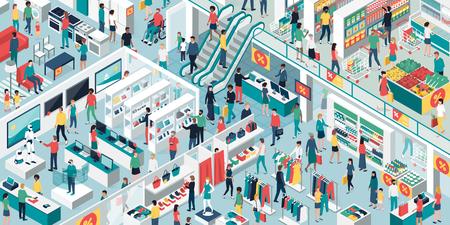 Persone felici che fanno shopping insieme al centro commerciale e svendita: elettronica, abbigliamento, arredamento per la casa e negozio di alimentari